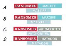Ransomes Vintage Mower 1960s Marquis, Auto-Certes, Mastiff, Matador Repro Decals