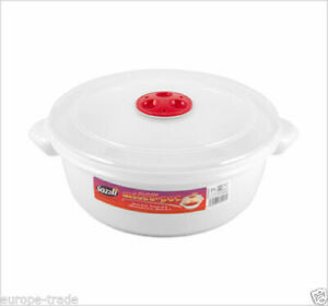 Microwave Pot Tub Round 2 L Bowl White with Vented Clear Lid Dishwasher safe