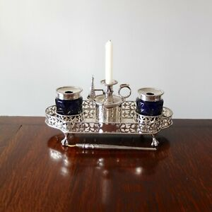 ANTIQUE SILVER GALLERY INKSTAND Victorian Candle Desk Stand