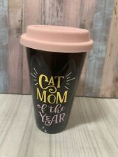 Cat Mom Of The Year Coffee Mug Drink Cup Tea Black Pink Silicon Top