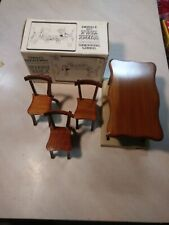 VINTAGE 1981 TERRI'S TREASURES SILVER CAST WOODEN DOLL TABLE CHAIRS FURNITURE