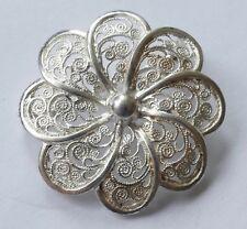 Brosche filigrane Arbeit 835 Silber rhodiniert Vintage 60er brooch silver