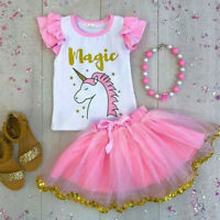 Kids Baby Girl Cartoon Unicorn Top T-shirt Lace Tutu Skirt Outfit Clothes Summer