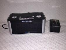 Emerson SmartSet Alarm Clock Radio + Power Cord Only Cks1708 Silver and Black