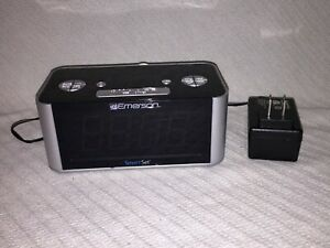 Emerson SmartSet Alarm Clock Radio + Power Cord ONLY CKS1708 Silver and Black