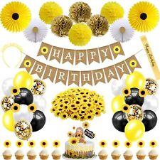 Sunflower Birthday Party Decorations Supplies for Girls Women Kids Babies Yellow