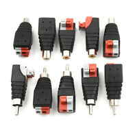 5Pcs speaker wire a/v cable to audio male rca connector adapter jack press pl dH