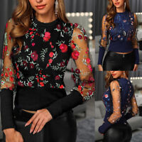Women Ladies Long Sleeve Floral Embroidery Sheer Mesh Insert Tops Blouse T-Shirt
