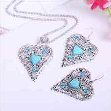 Women Tibetan Silver Heart Turquoise Women Pendant Necklace Earrings Jewelry Set
