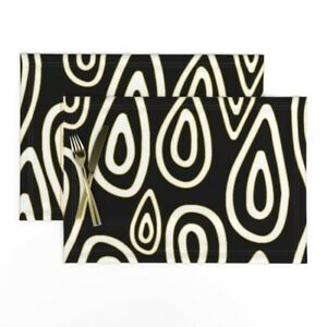 Cloth Placemats Abstract Drawn Ovals Black Gold White Tribal Hand Set of 2