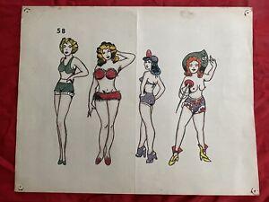Vintage Tattoo Flash Original Production Flash Sheet Tattooing History