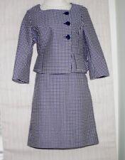 Ann Taylor Blue White Polka Dots Cotton Blend Women's Skirt Suit Size: 6/4