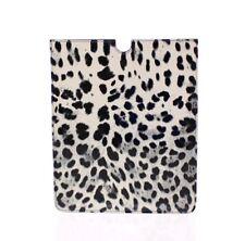 NUEVO DOLCE & GABBANA FUNDA TABLET E-BOOK Blanco Diseño De Leopardo Piel