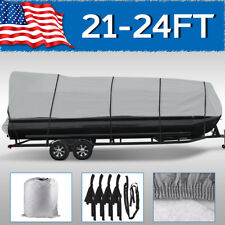 21-24FT Boat Cover Gray Trailerable Heavy Duty Pontoon Beam Non-Abrasive Lining