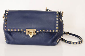 Valentino navy blue pebbled leather rockstud logo cross body handbag purse $1375