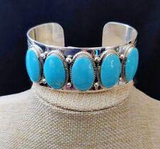 Chaco Canyon 5-Stone Kingman Turquoise Silver Cuff Bracelet S/M NWT RET $844