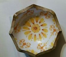Pioneer Woman Flea Market 5 in Wooden Wood Snack Fruit Bowl Floral Burst Collect