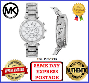 Michael Kors MK5572 Parker Silver and Crystal Chronograph Womens Wrist Watch
