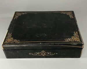 19th Century French Ebonised Brass Inlayed Games Box AF By Alph Giroux CZX