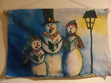 Singing Snowmen Flashing Tapestry Christmas Picture With LED Lights 60 x 40cm
