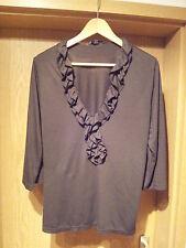Damen Rüschen-Shirt Gr. L braun H&M