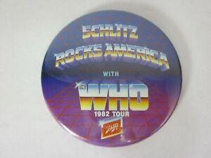 Vintage 1982 The Who Schlitz Rocks America Tour Collector Button Pin