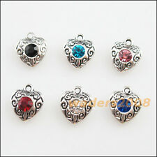 12 New Tibetan Silver Charms Mixed Crystal Heart Flower Pendants 10x11.5mm