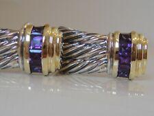 $1250 DAVID YURMAN 14K GOLD, SILVER WHEAT AMETHYST CABLE EARRINGS