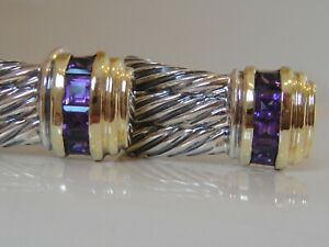 $1250 DAVID YURMAN 14K GOLD, SILVER WHEAT AMETHYST CABLE EARRINGS