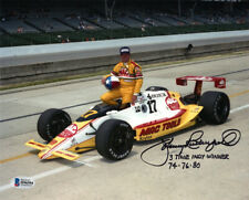 JOHNNY RUTHERFORD SIGNED AUTOGRAPHED 8x10 PHOTO + HUGE INSCRIPTION BECKETT BAS