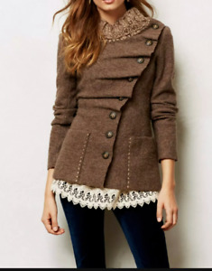Gro Abrahamsson 100%Wool Sweater Brown Denmark Size 36 Anthro Lagenlook Magnolia