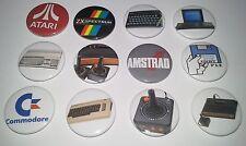 12 retro gaming button Badges Atari 2600 Commodore 64 Amiga 500 Spectrum ZX cpc
