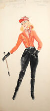 Vintage theatre costume design woman jockey watercolor painting signed