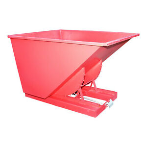 2 Yard Self Dumping /Tipping Forklift Trash Dumpster Hopper -Red Two Yd Dumper.