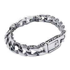 Men's Bracelet en acier titane Cubain sculpté Curb Link Chain Silver ton Hommes