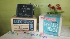 3 Vintage Chemist 2 Boxes 1 Advertising Sign Lux Soap Roller Perm & Leg Cosmetic