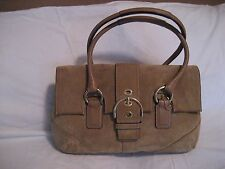 COACH TAN SUEDE TAN HOBO WITH TOP HANDLES 10.5 x14
