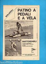 ALTOP970-PUBBLICITA'/ADVERTISING-1970- SOLAROLI - PATINO A PEDALI E A VELA