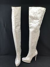 Stuart Weitzman Crystal Silver Thigh High Partial Zip Boots Size 7.5M K741