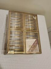 Set of 4 GEORGES BRIARD Mid Century Gold Bands DOF  Glasses in box