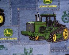 John Deere Fabric Farm Tractors Deer Logo Blue Patch Springs CP23487  ~ Yard