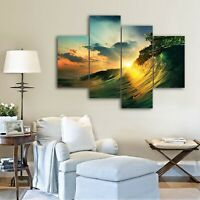 Stretched Wave canvas prints Shining water Sunset Split modern art wall ocean