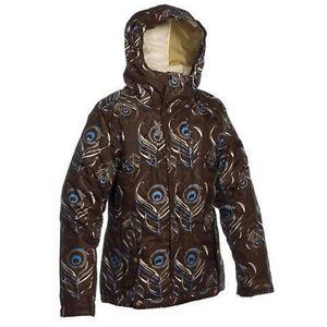 Bonfire Flare Jacket Womens Ski Snowboard Waterproof Insulated Brown Print XS