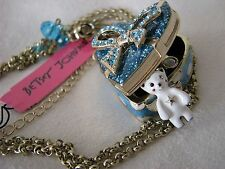 BETSEY JOHNSON WHITE SNOW ANGEL BEAR SPARKLE HEART BOW LOCKET NECKLACE~NWT~RARE