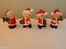 Vintage Japan NOEL Santas Elves Candy Stripe Cups Christmas Ornaments
