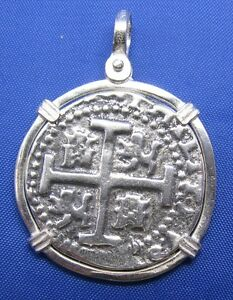Sterling Silver Piece of Eight Pirate Doubloon Spanish Treasure Coin Pendant