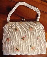 True VTG Original Corde Bead Handbag Purse White / Pink Green Floral 1950-60's