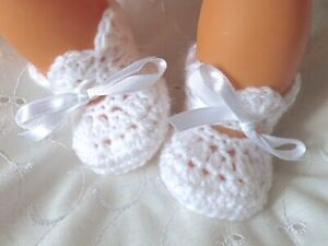 NEWBORN BABY WHITE HAND CROCHET KNITTED SHOES / BOOTIES REBORN BABY DOLL GIFT