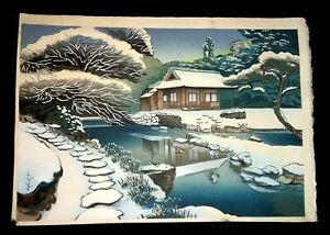 1950s Japanese Woodblock Print Teahouse in the Snow Ohno Bakufu (1888–1976)(AHB)