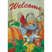 "OCTOBER GARDEN WELCOME 12.5"" X 18"" GARDEN FLAG 27-2667-123 FLIP IT RAIN OR SHINE"